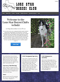 Lone Star Borzoi Club - Wordpress website