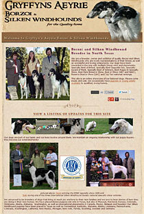 Gryffyn's Aeyrie Borzoi and Silken Windhounds - dog breeder website design